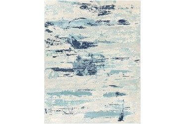 7'10X10' Outdoor Rug-Ivory/Grey/Blue Waves