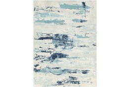 """8'10""""X12' Outdoor Rug-Ivory/Grey/Blue Waves"""