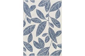 7'10X10' Outdoor Rug-Dark Blue Palm Leaves