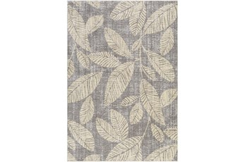 7'X9' Outdoor Rug-Butter Yellow Palm Leaves