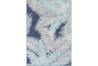 """8'10""""X12' Outdoor Rug-Blue & Aqua Mixed Palm"""