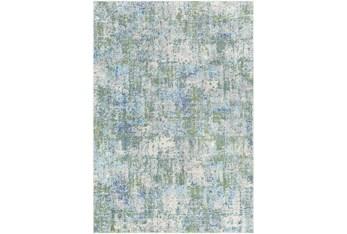 7'10X10' Outdoor Rug-Green & Navy Abstract