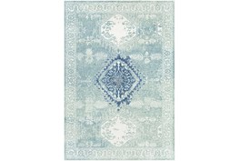 """5'3""""X7'3"""" Outdoor Rug-Green With Blue Diamond"""