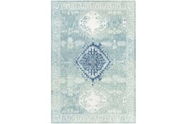 """8'10""""X12' Outdoor Rug-Green With Blue Diamond"""