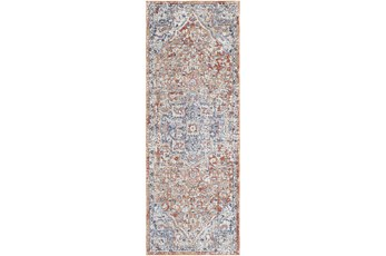 """2'7""""X7'3 Outdoor Rug-Red & Charcoal Muted Design"""
