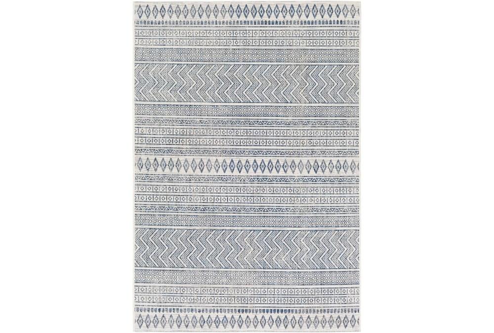 10'X14' Outdoor Rug-Denim & White Horizontal Geo