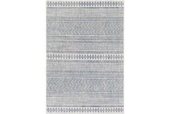 2'X3' Outdoor Rug-Denim & White Horizontal Geo