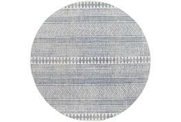 "6'7"" Round Outdoor Rug-Denim & White Horizontal Geo"