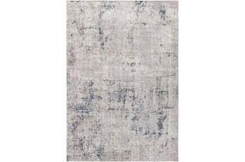 "5'3""X7' Outdoor Rug-Blue/Grey/Cream Abstract"