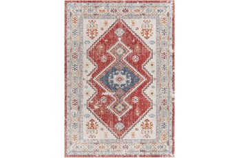 """5'3""""X7' Outdoor Rug-Bold Red With Blue Global"""