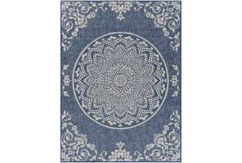"""5'3""""X7' Outdoor Rug-Blue & Ivory Lace Medallion"""