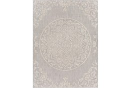 """7'10""""X10' Outdoor Rug-Taupe & Ivory Lace Medallion"""