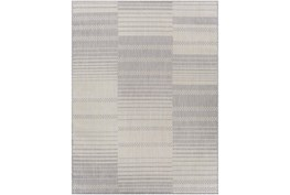 """7'10""""X10' Outdoor Rug-Taupe & Ivory Streamlined"""
