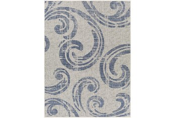 """5'3""""X7' Outdoor Rug-Blue & Ivory Tradtional Paisley"""