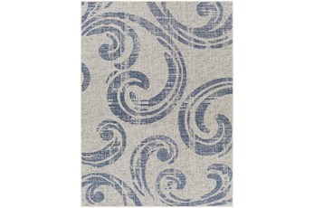 """6'7""""X9' Outdoor Rug-Blue & Ivory Tradtional Paisley"""