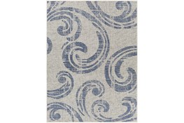 """7'10""""X10' Outdoor Rug-Blue & Ivory Tradtional Paisley"""