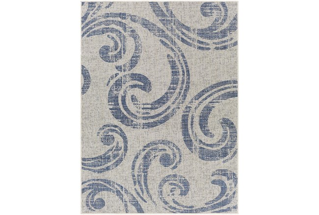 """7'10""""X10' Outdoor Rug-Blue & Ivory Tradtional Paisley - 360"""