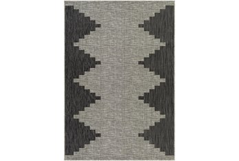 """7'10""""X10' Outdoor Rug-Ivory & Gray Rustic"""