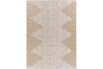 """5'3""""X7' Outdoor Rug-Taupe & Ivory Rustic"""