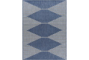 """5'3""""X7' Outdoor Rug-Blue & Ivory Rustic"""