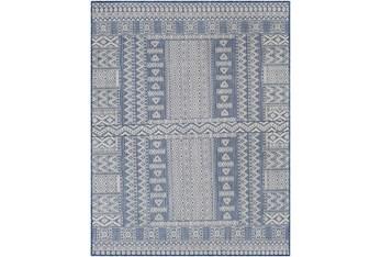 "6'7""X9' Outdoor Rug-Blue & Ivory Global Aztec"
