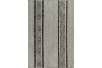 "7'10""X10' Outdoor Rug-Gray, Ivory & Charcoal Modern Streamline"