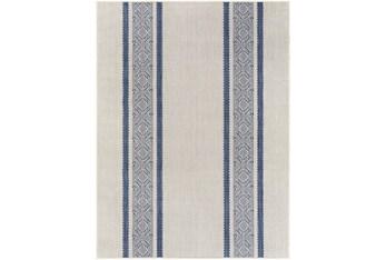 "5'3""X7' Outdoor Rug-Blue & Ivory Modern Streamline"
