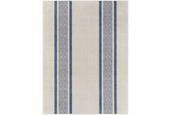 "6'7""X9' Outdoor Rug-Blue & Ivory Modern Streamline"