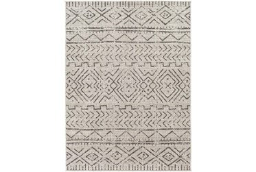"""5'3""""X7' Outdoor Rug-Gray, Ivory & Charcoal Moroccan Design"""