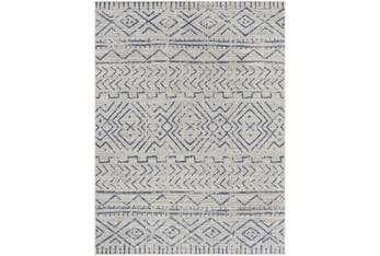 """5'3""""X7' Outdoor Rug-Blue & Ivory Moroccan Design"""