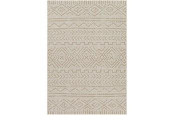 """5'3""""X7' Outdoor Rug-Wheat & Khaki Moroccan Design"""