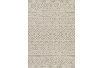 """6'7""""X9' Outdoor Rug-Wheat & Khaki Moroccan Design"""