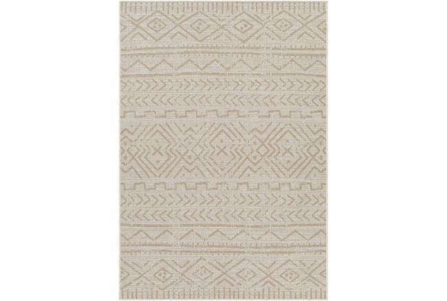 """6'7""""X9' Outdoor Rug-Wheat & Khaki Moroccan Design - 360"""