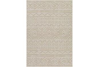 """7'10""""X10' Outdoor Rug-Wheat & Khaki Moroccan Design"""
