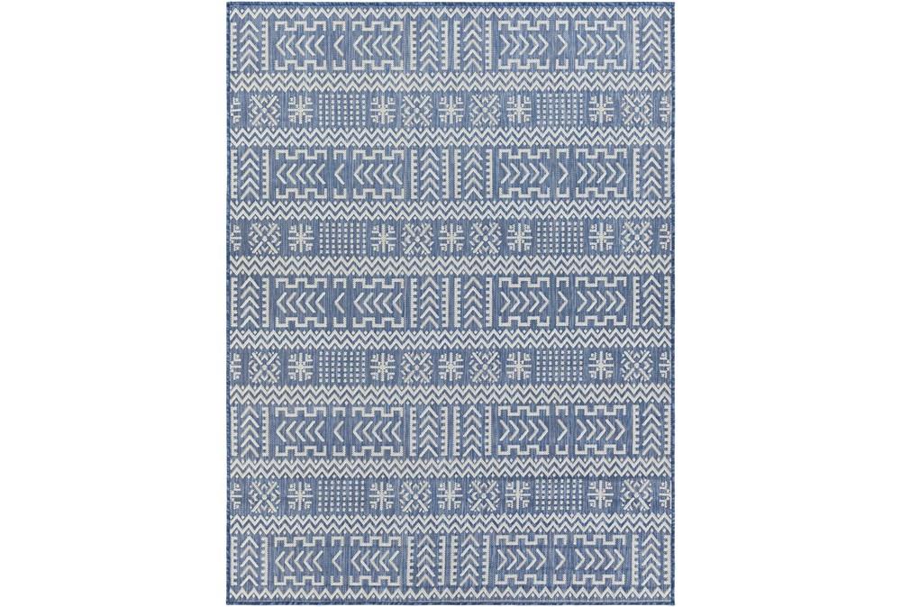 "7'10""X10' Outdoor Rug-Blue & Ivory Global Aztec"