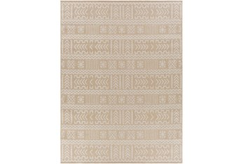 """5'3""""X7' Outdoor Rug-Taupe & Ivory Global Aztec"""