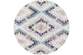 """7'8"""" Round Rug-White & Blue Geo Pattern"""