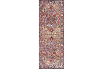 """2'5""""X7'5"""" Rug-Red & Navy Bold"""