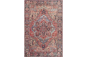 """3'5""""X5'5"""" Rug-Red & Navy Bold"""