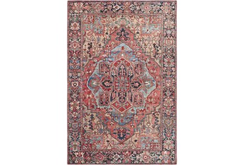 """5'X7'5"""" Rug-Red & Navy Bold"""