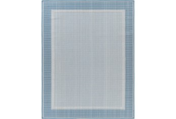 """5'3""""X7' Outdoor Rug-Blue & Beige Traditional Border"""
