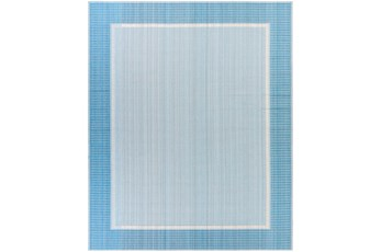 """7'10""""X10' Outdoor Rug-Blue & Beige Traditional Border"""