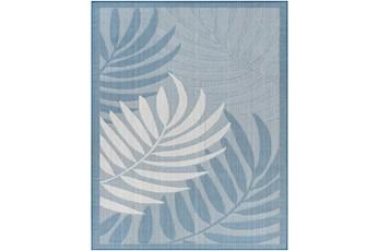 "5'3""X7' Outdoor Rug-Blue & Beige Coastal Palms"