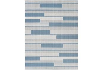 """5'3""""X7' Outdoor Rug-Blue & Beige Modern Stripe"""