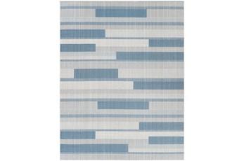 """6'7""""X9' Outdoor Rug-Blue & Beige Modern Stripe"""
