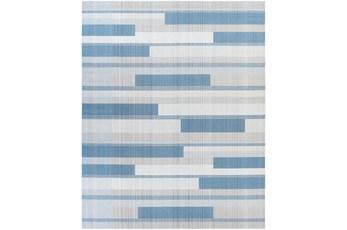 """7'10""""X10' Outdoor Rug-Blue & Beige Modern Stripe"""