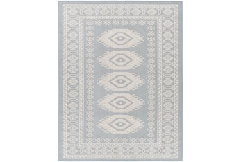 """5'3""""X7' Outdoor Rug-Blue & Cream Updated Traditional"""