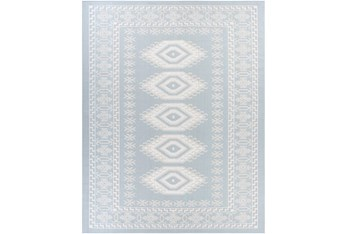 """7'10""""X10' Outdoor Rug-Blue & Cream Updated Traditional"""