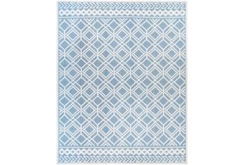 """7'10""""X10' Outdoor Rug-Blue & Cream Updated Aztec"""