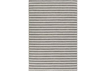 "2'7""X5' Outdoor Rug-Light Grey & White Thin Stripe"